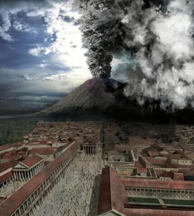извержения Везувия были настолько крупными, что покрыли пеплом всю южную Европу