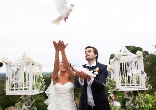 Голуби на свадьбе в Италии