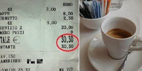 Итальянская журналистка Raffaella Iuliano выставила на своей странице в facebook фотографию чека, выданного в одном из баров острова Искья