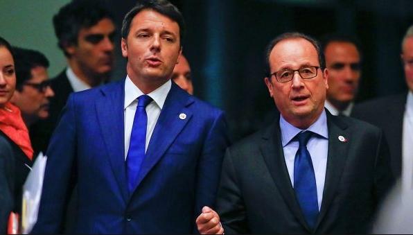 Маттео Ренци на совместной пресс-конференции с президентом Франции Франсуа