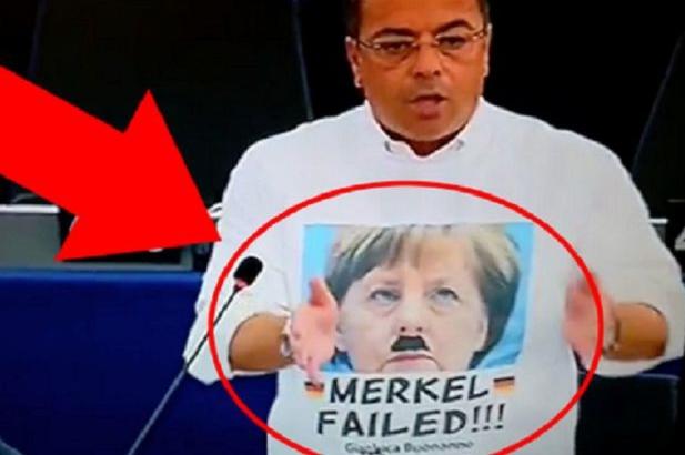 Европарламент шокирован: Ангела Меркель в образе Гитлера на футболке итальянского депутата