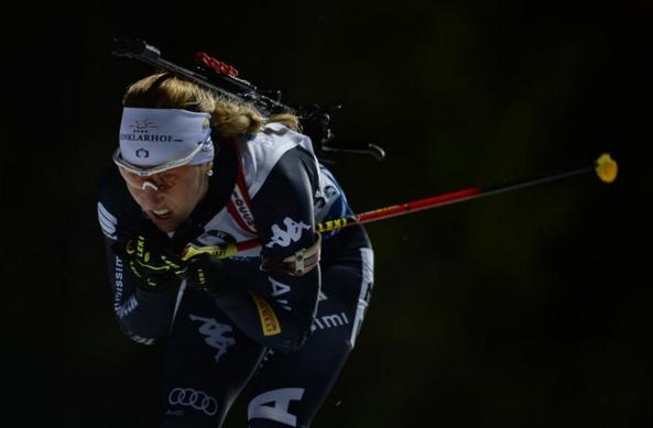 В спринтерской гонке на 7,5км. 25-летняя Федерика Санфилиппо, впервые в своей карьере взошла на пьедестал
