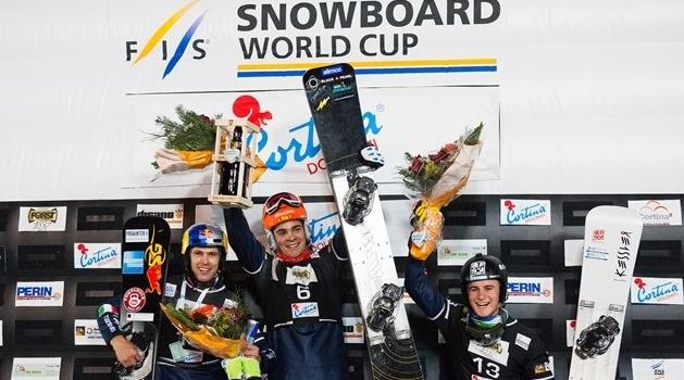 Итальянский подиум на этапе Кубка мира по сноуборду в Кортина-д'Ампеццо