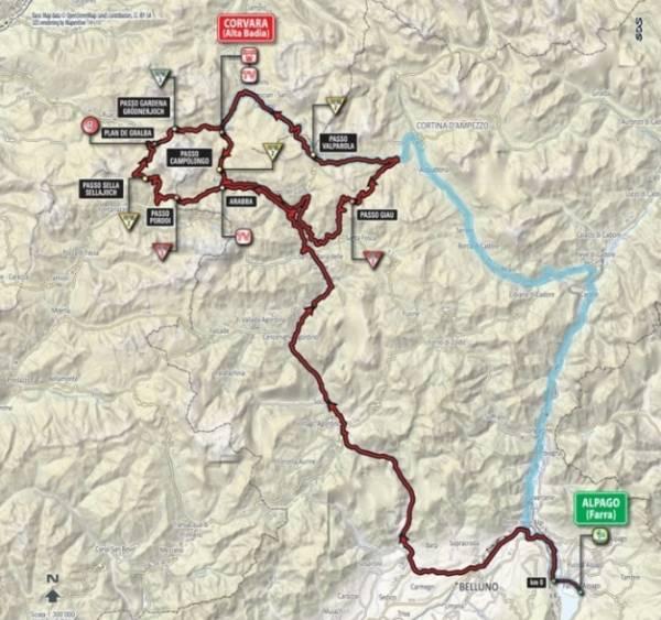 Финиш этапа, спустя пройденных 201км., состоялся в Корвара-Альта-Бадия