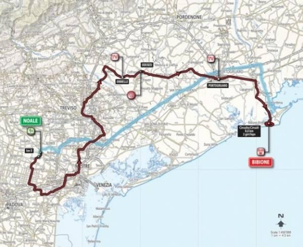 Финишировали участники этапа Джиро в Бибионе