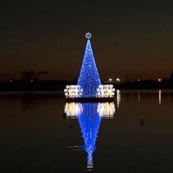 Рождественское дерево посреди озера Мизено в Баколи - красивейшее в мире