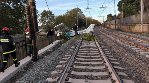 Рим. Самолет упал на высокоскоростную железнодорожную линию