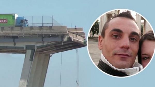 фото Луиджи, водителя грузовика на краю разрушенного моста в Генуе