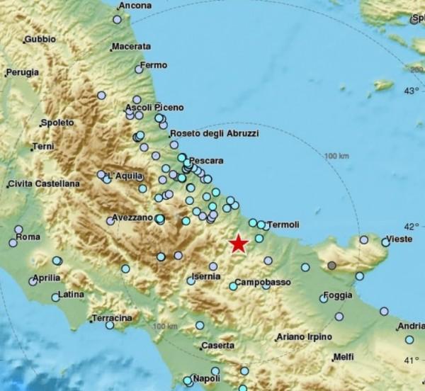 Землетрясение 4,9 балла произошло на юго-востоке �талии