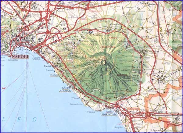Подробная карта у Везувия